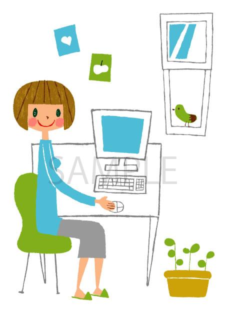 パソコンに向かう女性