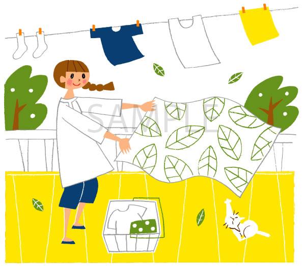 洗濯ものを干す女性のイラスト