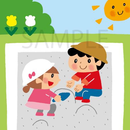 砂遊び 子ども イラスト
