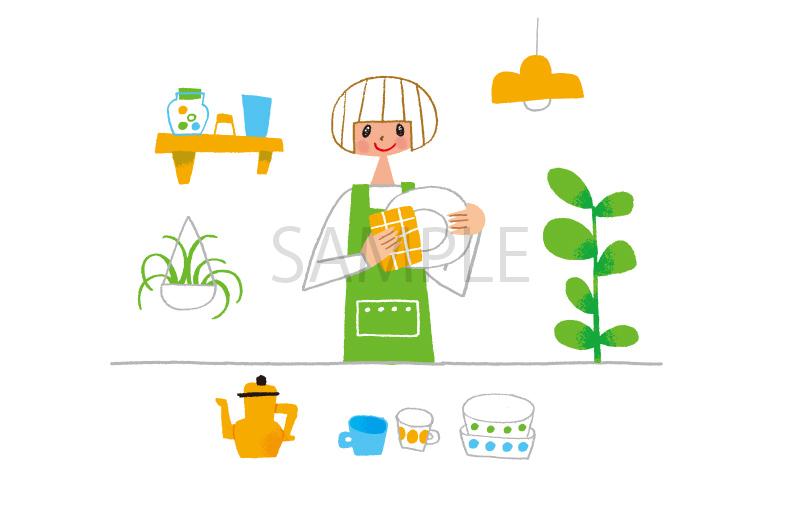 キッチン 主婦 イラスト