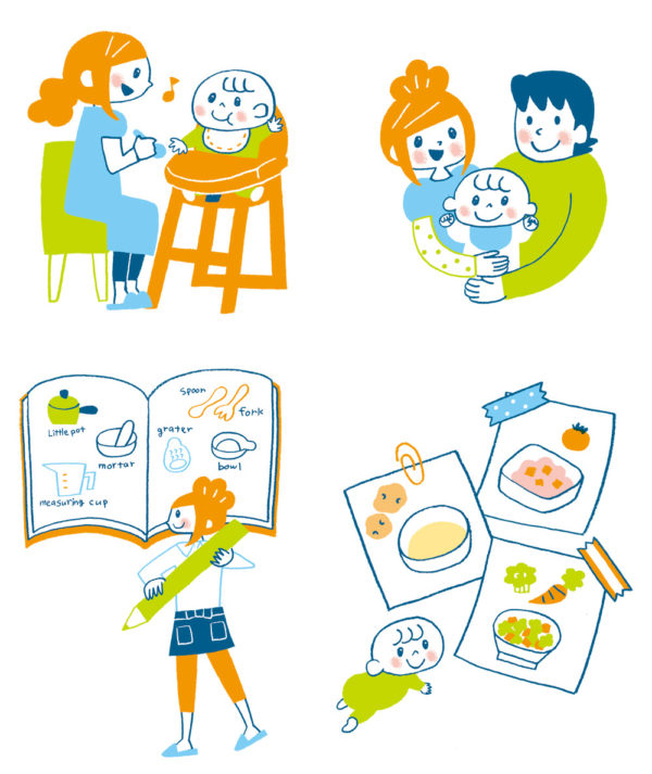 赤ちゃんと家族のイラスト