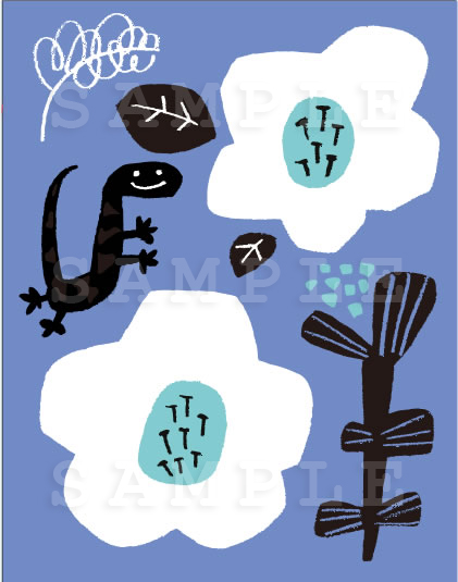 ヤモリと花のイラスト 北欧