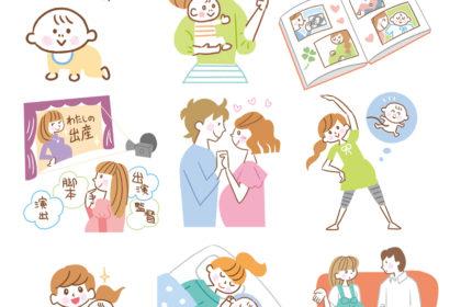 赤ちゃんとママのイラスト