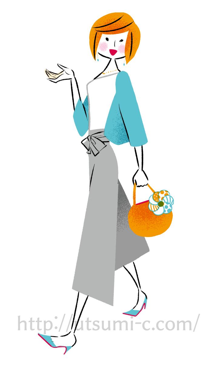 歩く女性 イラスト