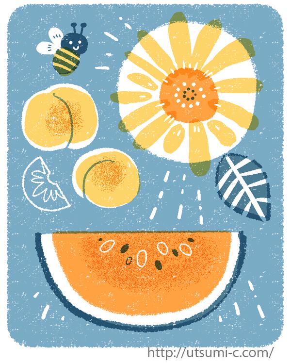 スイカ 西瓜 ひまわり 桃