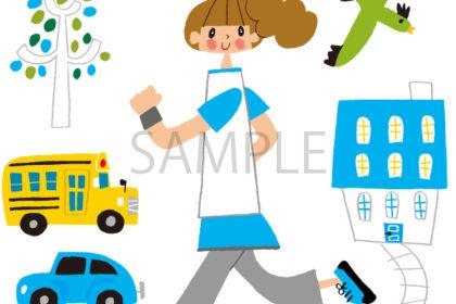 走る女性のイラスト